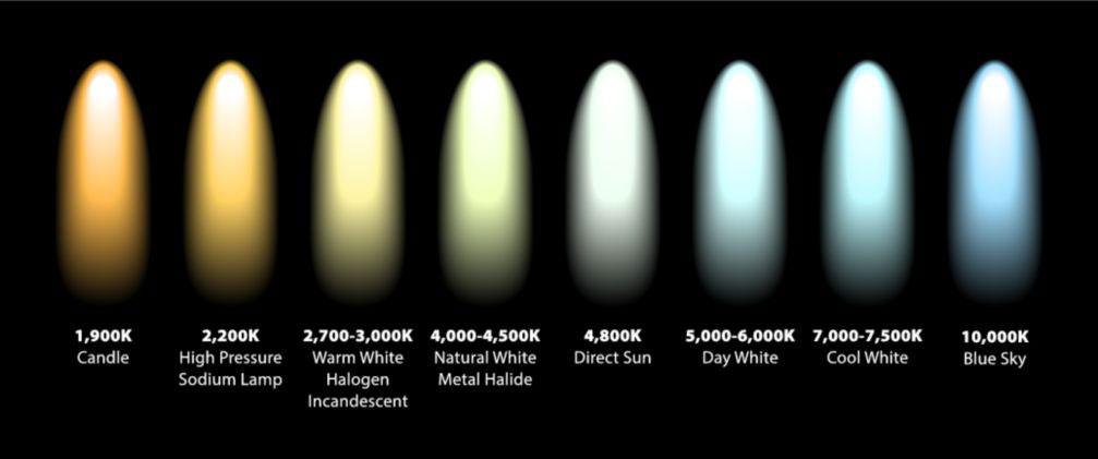 Kelvin color temperature with the spectrum for an ergonomic workstation.