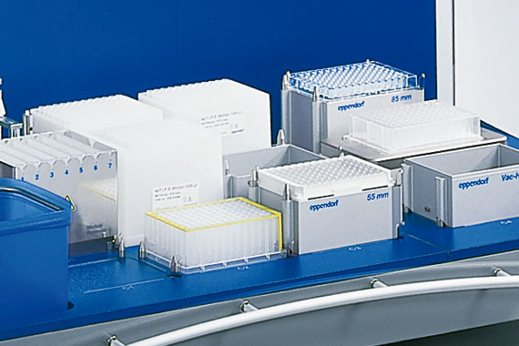 Automated liquid handling system of Eppendorf with accessories.