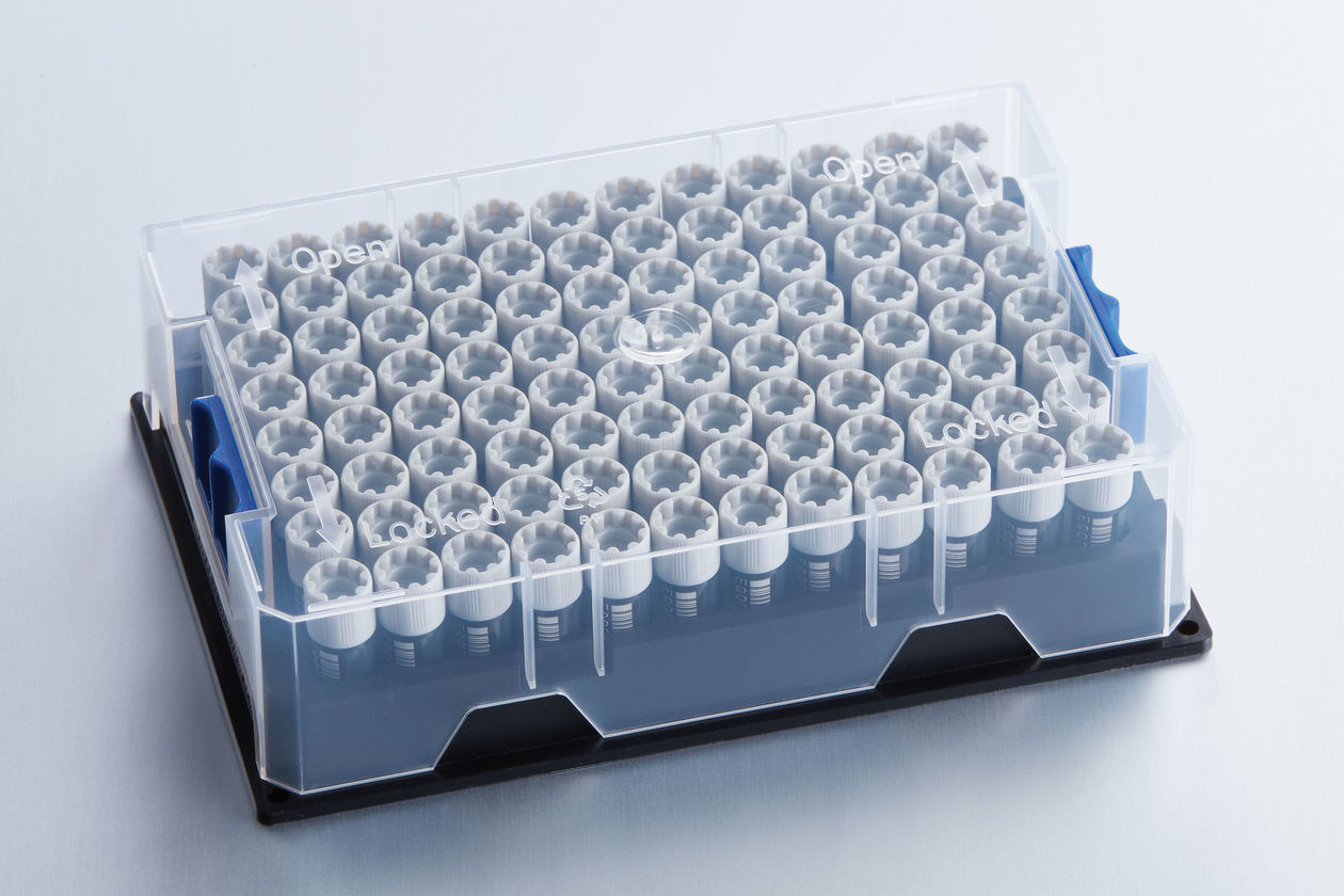 Box with 96 cryovials pre-racked in one vial.