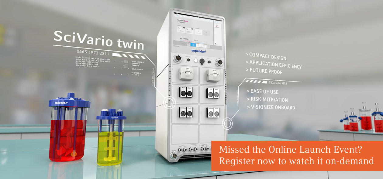 SciVario twin bioreactor control system with two single-use bioreactors BioBLU from Eppendorf