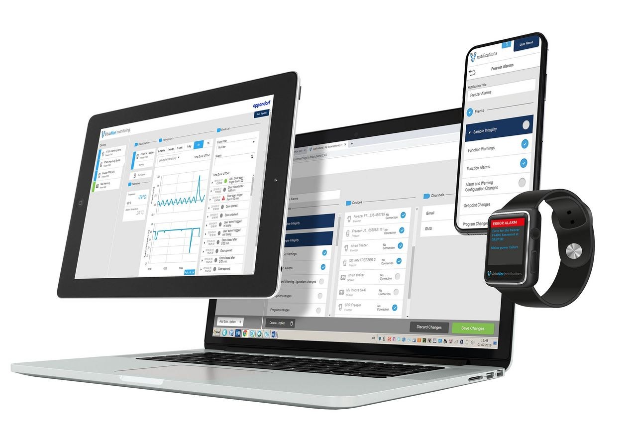 A computer, tablet, smartphone and watch can access the VisioNize® Digital Lab Space to remotely monitor the lab.