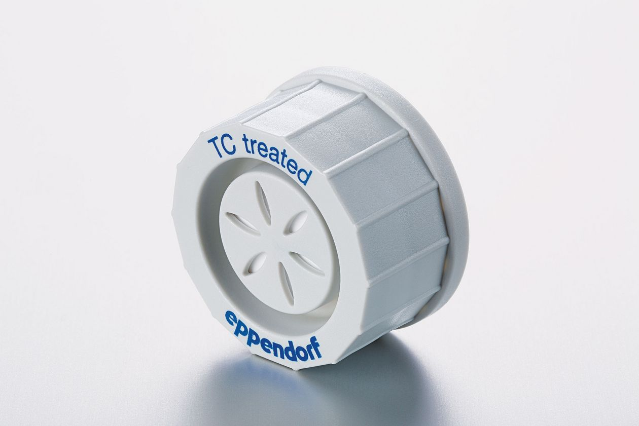 Antirolling cell culture cap for lab flasks that says 'Eppendorf' on it.