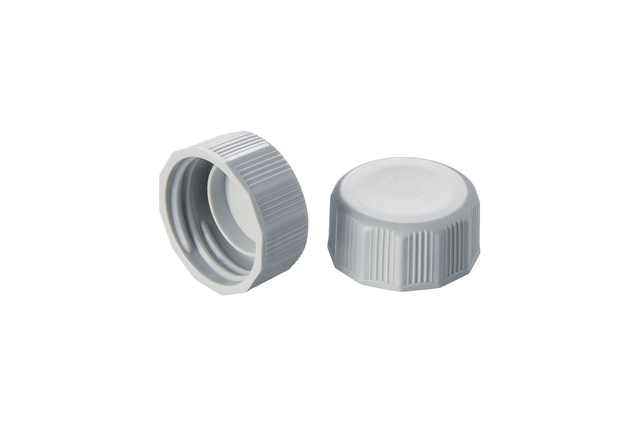 Two grey lids of conical vessels for usage in the laboratory.