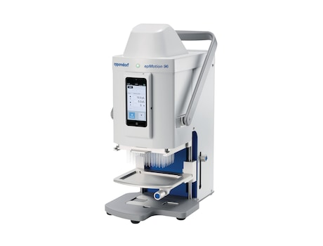 epMotion® 96, semi-automated electronic pipette for parallel 96 channel microplate processing (without iPod® controller), 100 – 240 V ±10 %/50 – 60 Hz ±5 %, 0.5 – 300 µL