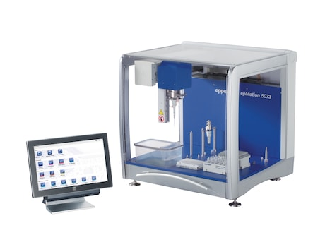 epMotion® 5073m MultiCon, completely contained housing, system incl. MultiCon, Eppendorf MagSep™ module, Eppendorf ThermoMixer®, epBlue™ software and Prep assistant, keyboard, mouse, waste box, 100 – 240 V ±10 %/50 – 60 Hz ±5 %, 0.2 µL – 1 mL