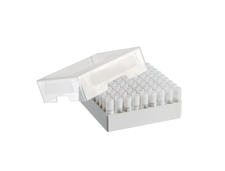 Storage Box 9 × 9, for 81 screw cap (cryog.) tubes 1 – 2 mL, 3 pcs., height 53 mm, 2 inch, polypropylene, for freezing to -86 °C, autoclavable, with lid and alphanumeric code