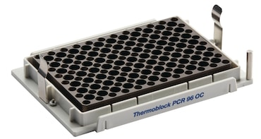 Temperature control and safe piercing of sealed, semi-skirted PCR plates with orientation control using the thermoblock 96 OC for epMotion