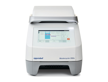 Mastercycler® X50s, 110 – 230 V/50 – 60 Hz (GB), silver block, 96-well plate or 0.1/0.2 mL tubes, with touch screen interface