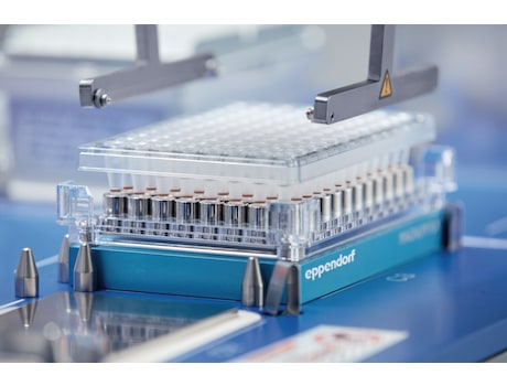 A gripper transpots plates and tipboxes in the epMotion liquid handling robot