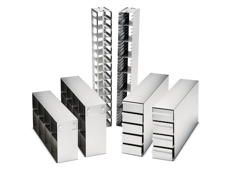 Eppendorf ULT Freezer racks for safe and comfortable sample storage at -80°C, drawer and side-access racks