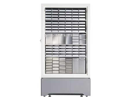 Eppendorf CryoCube F740 ULT freezer with 5 compartments full of freezer racks for storage of freezer boxes and samples