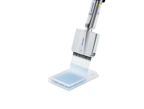 Eppendorf 16-channel pipette dispenses liquid in 384-well plate