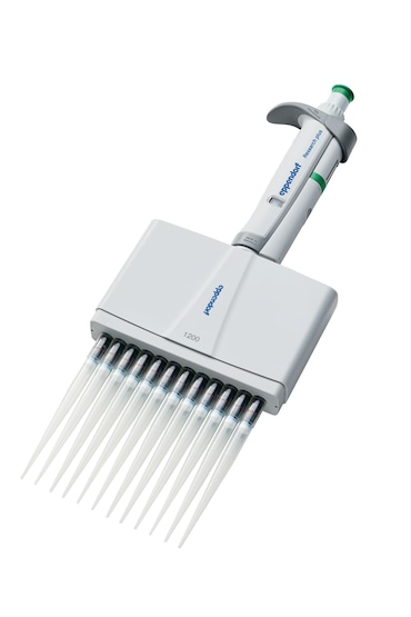 Eppendorf 12-channel pipette dispenses liquid in deep-well plate