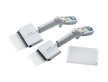 Eppendorf Xplorer<sup>&reg;</sup>/Xplorer plus 16 and 24-channel electronic pipettes and 96-well plate