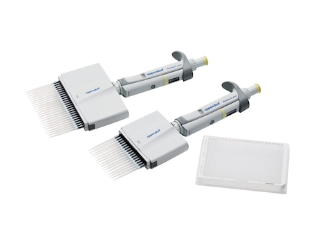Eppendorf Research<sup>&reg;</sup> plus 16 and 24-channel mechanical pipettes and 96-well plate