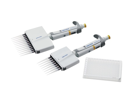 Eppendorf Research<sup>®</sup> plus 8 and 12-channel mechanical pipettes and 96-well plate