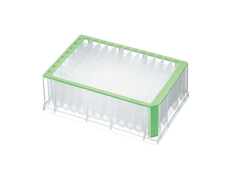 Deepwell Plate 96/2000 µL, wells clear, 2000 µL, Sterile, green, 20 plates (5 bags × 4 plates)