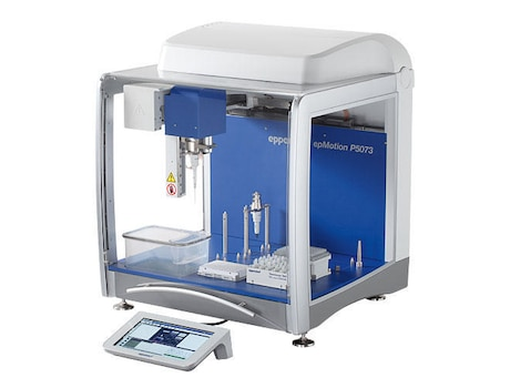 epMotion® P5073c, for automatic preparation of PCR reactions, with CleanCap, EasyCon, epBlue™ software and PCR assistant, TS 50, TS 300, Thermoblock for PCR plates, 96 well, Rack for 24 Safe-Lock tubes, 100 – 240 V ±10 %/50 – 60 Hz ±5 %, 0.2 µL – 1 mL