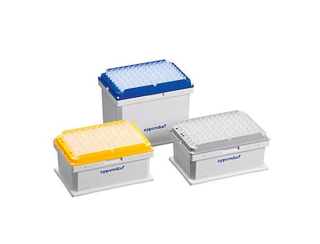 epT.I.P.S.® Motion as SafeRack tips, without filter, Eppendorf Quality™, 50 µL, 960 tips (10 racks × 96 tips)