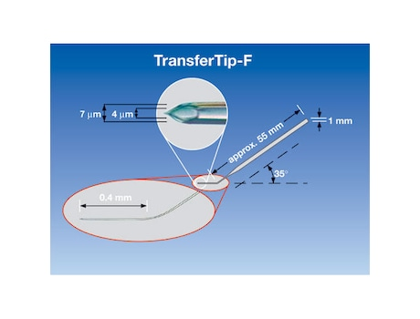 TransferTip® F (ICSI), for sperm injection using the ICSI technique (for research use only), 35° tip angle, 4 µm inner diameter, 0.4 mm flange, sterile, set of 25