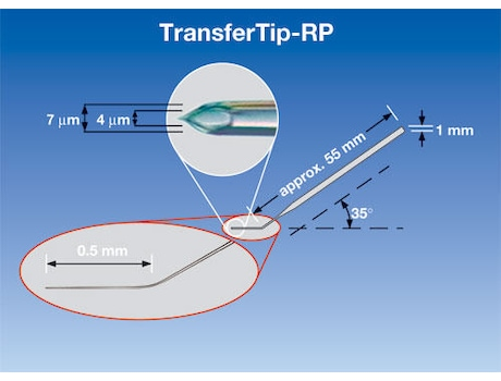 TransferTip® RP (ICSI), for sperm injection using the ICSI technique (for research use only), 35° tip angle, 4 µm inner diameter, 0.5 mm flange, sterile, set of 25