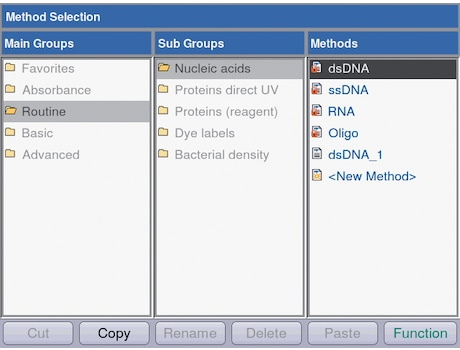 Image – BioSpectrometer screenshot method selection