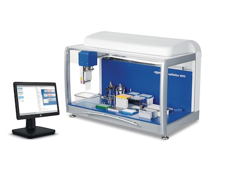 epMotion® 5075vt, basic device incl. vacuum system, gripper, vac frame 2, vac frame holder, Eppendorf ThermoMixer®, epBlue™ software, mouse, waste box, 100 – 240 V ±10 %/50 – 60 Hz ±5 %, 0.2 µL – 1 mL
