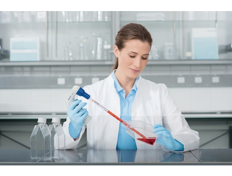 Image – Cell Culture Flask pipetting under clean bench
