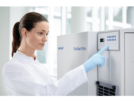 Eppendorf CryoCube F101h ULT freezer with person changing the display settings