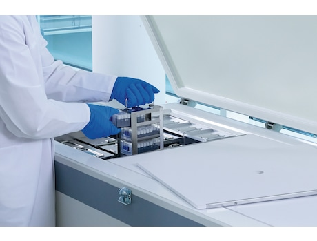 Eppendorf CryoCube FC660h Ultralow temperature chest freezer (ULT) for longterm storage of sample, pulling out tower racks for freezer boxes