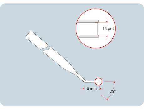 Piezo Drill Tip ES, for piezo-assisted mouse ES cell transfer (for research use only), 25° tip angle, 15 µm inner diameter, 6 mm flange, sterile, set of 25
